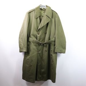 Vtg 50s Mens Medium US Military Korea Trench Coat